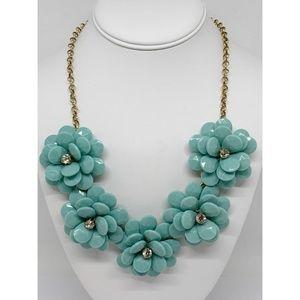 J. Crew Blue Beaded Flower Necklace